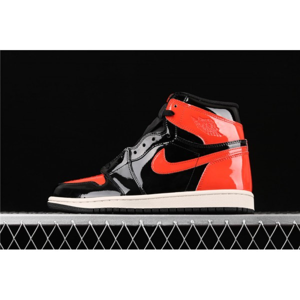Men's Nike Air Jordan 1 High Shattered Backboard Black Red Shoe