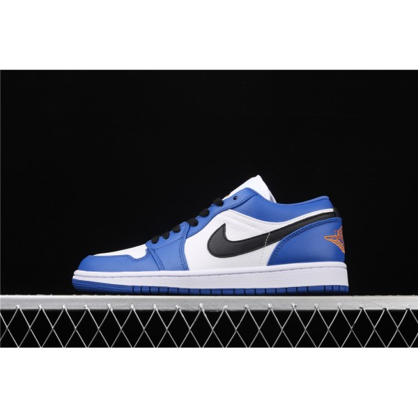 Nike Air Jordan 1 Low Black Logo White Blue Shoe