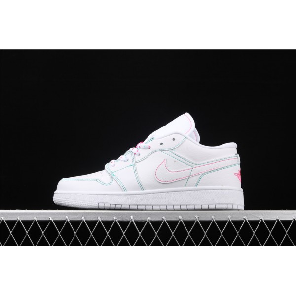 Nike Air Jordan 1 Low Shadow Green Rose Red Line Shoe
