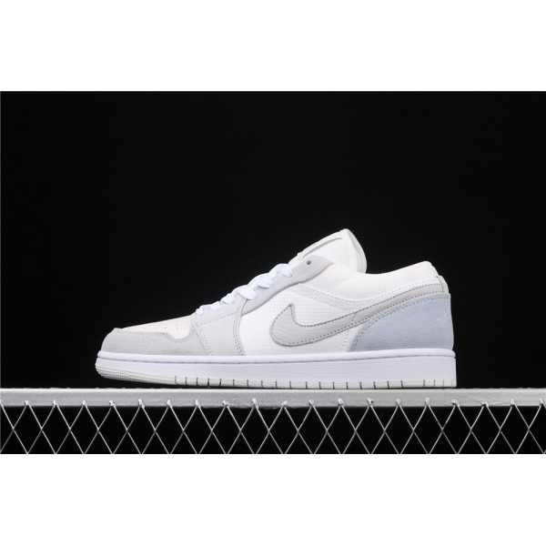 Nike Air Jordan 1 Low White Light Gray Logo Shoe