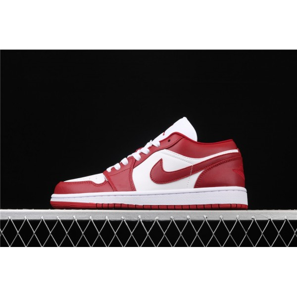 Nike Air Jordan 1 Low White Red Logo Shoe