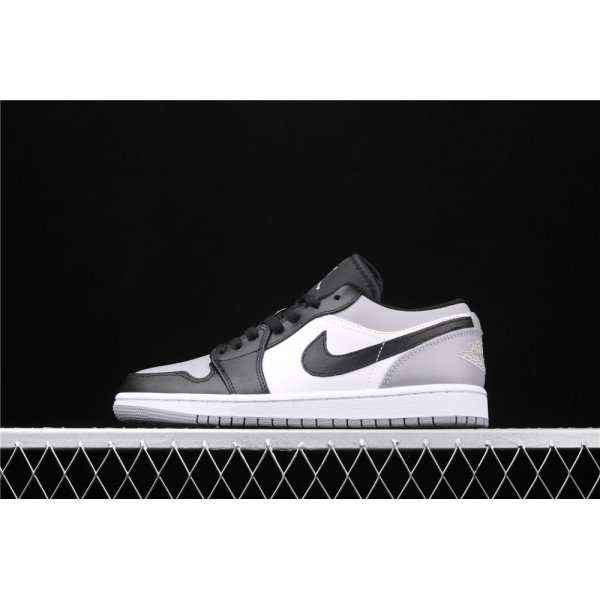 Men's Nike Air Jordan 1 Low Black Logo Gray White Shoe