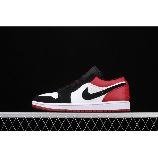 Men's Nike Air Jordan 1 Low Black Logo Red White Shoe