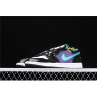 Men's Nike Air Jordan 1 Low Black Purple White Shoe