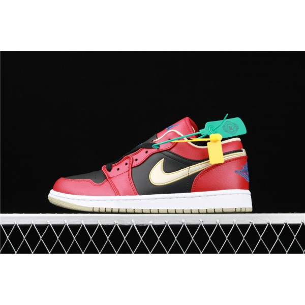 Men's Nike Air Jordan 1 Low Black Red Golden Shoe