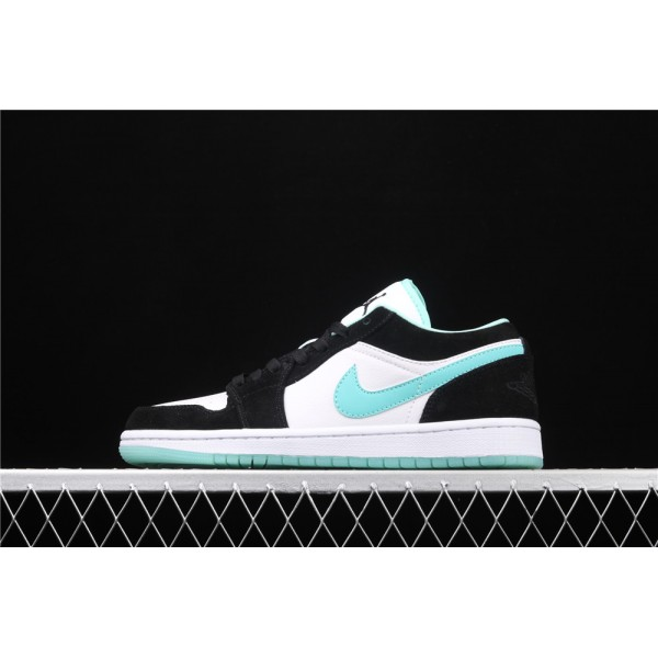 Men's Nike Air Jordan 1 Low Black White Azure Logo Shoe