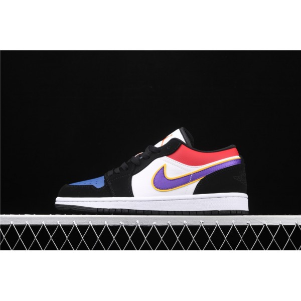 Men's Nike Air Jordan 1 Low Black White Purple Logo Shoe