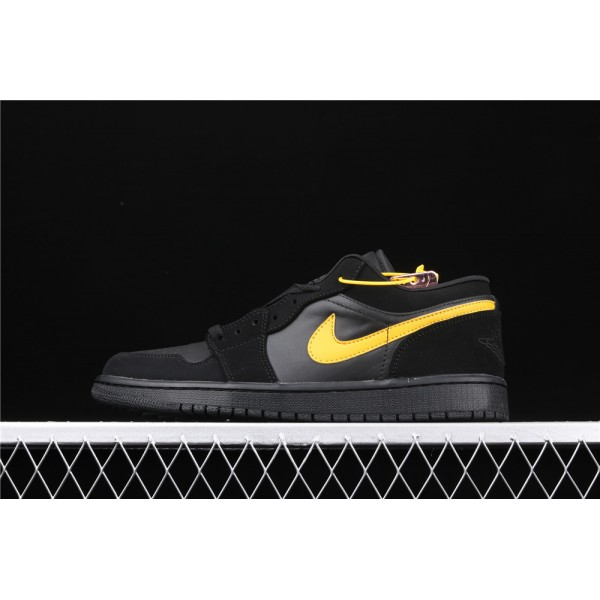 Men's Nike Air Jordan 1 Low Black Yellow Shoe
