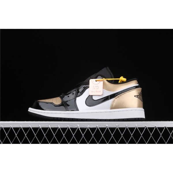 Men's Nike Air Jordan 1 Low Golden Black White Shoe