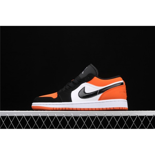 Men's Nike Air Jordan 1 Low Orange White Black Logo Shoe