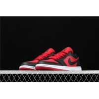 Men's Nike Air Jordan 1 Low Red Black Logo Shoe
