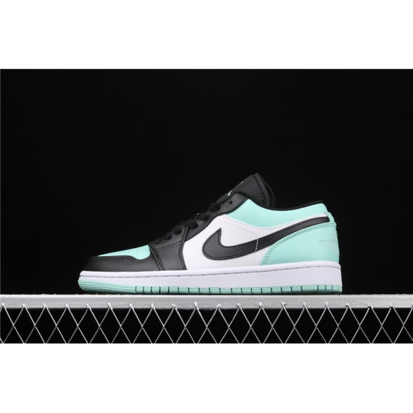 Men's Nike Air Jordan 1 Low White Azure Black Logo Shoe