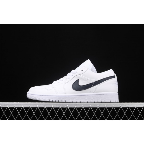 Men's Nike Air Jordan 1 Low White Black Logo Shoe