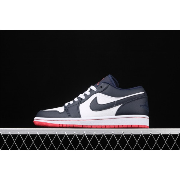 Men's Nike Air Jordan 1 Low White Deep Blue Logo Shoe