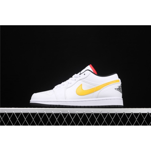 Men's Nike Air Jordan 1 Low Yellow Red Logo Shoe