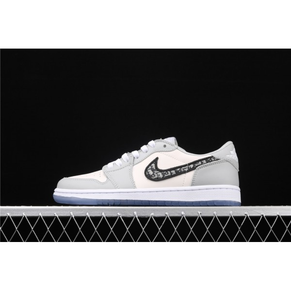 Men's Dior x Nike Air Jordan 1 Low OG Grey White Shoe