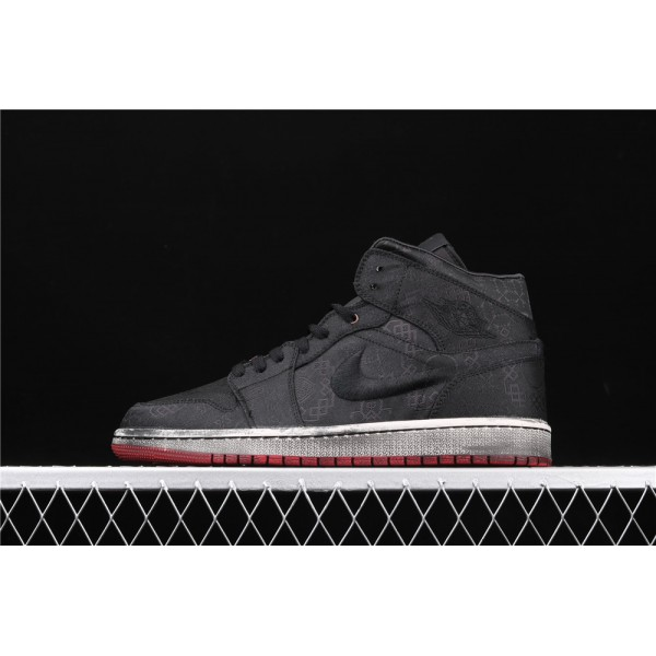 CLOT x Nike Air Jordan 1 Mid Fearless In Dirty Black Shoe