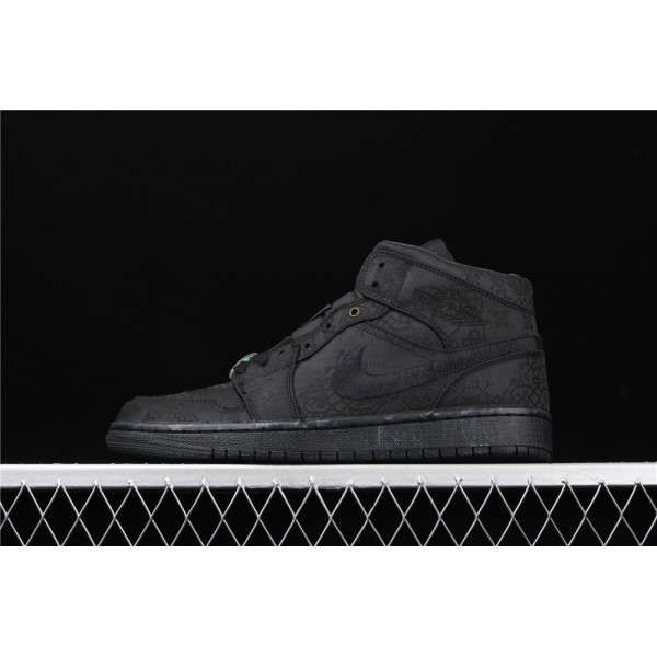 CLOT x Nike Air Jordan 1 Mid Fearless In Full Black Shoe