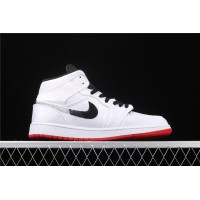 CLOT x Nike Air Jordan 1 Mid Fearless Silk In White Black Logo Shoe