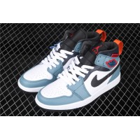 FaceTasm x Nike Air Jordan 1 Mid In Light Blue White Shoe
