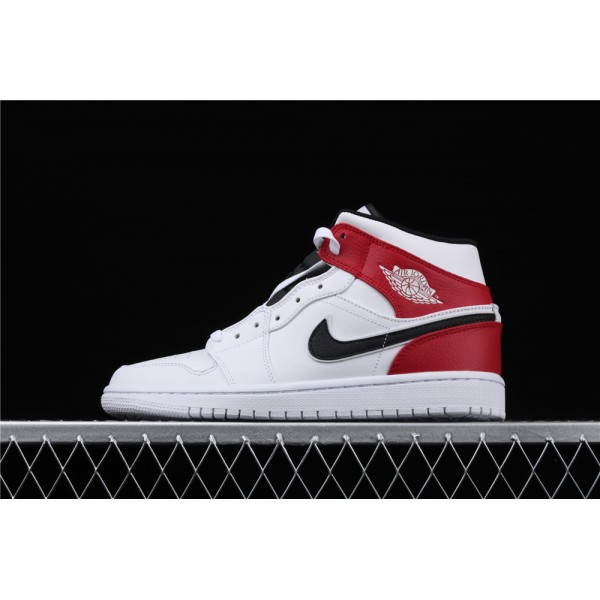 Men's Nike Air Jordan 1 Mid Chicago In White Red Black Shoe