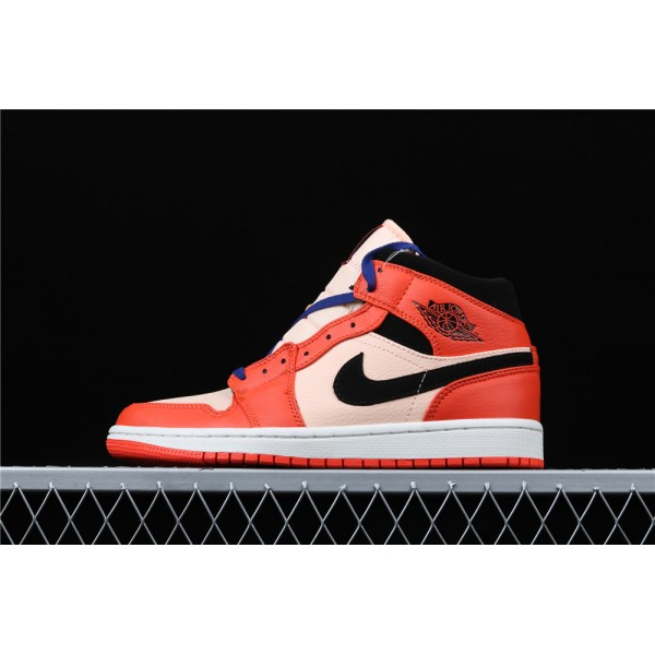 Men's Nike Air Jordan 1 Mid GS In Orange Black Shoe