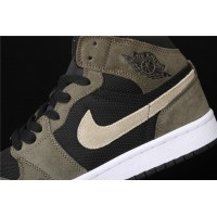 Men's Nike Air Jordan 1 Mid In Army Black White Shoe