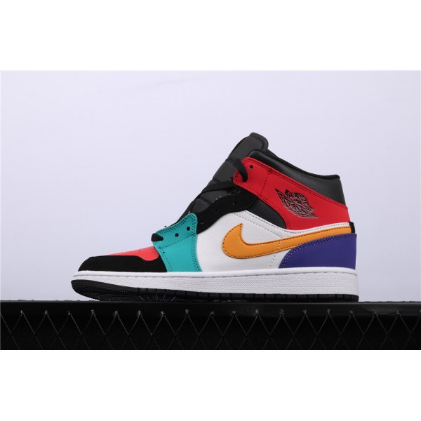 Men's Nike Air Jordan 1 Mid In Black Red Yellow Logo Shoe