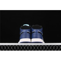 Men's Nike Air Jordan 1 Mid In Blue White Black Shoe