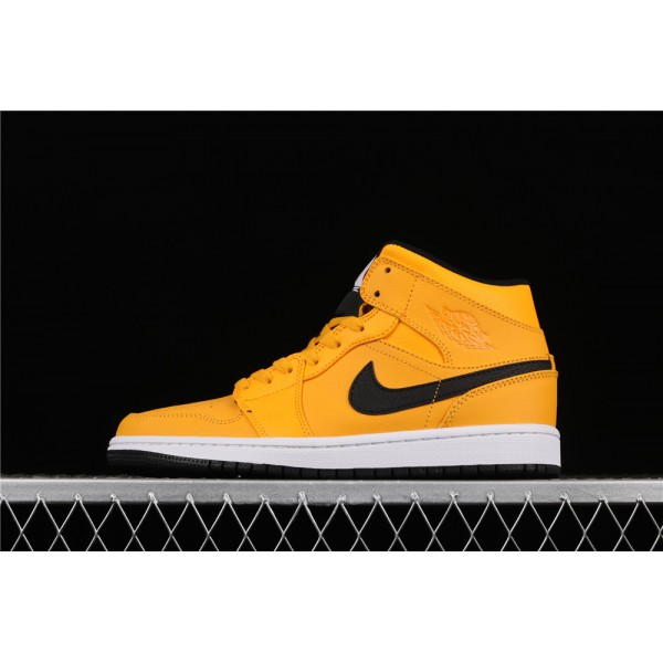 Men's Nike Air Jordan 1 Mid In Yellow Black Logo Shoe