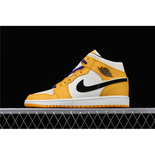 Men's Nike Air Jordan 1 Mid Lakers In Yellow White Black Shoe