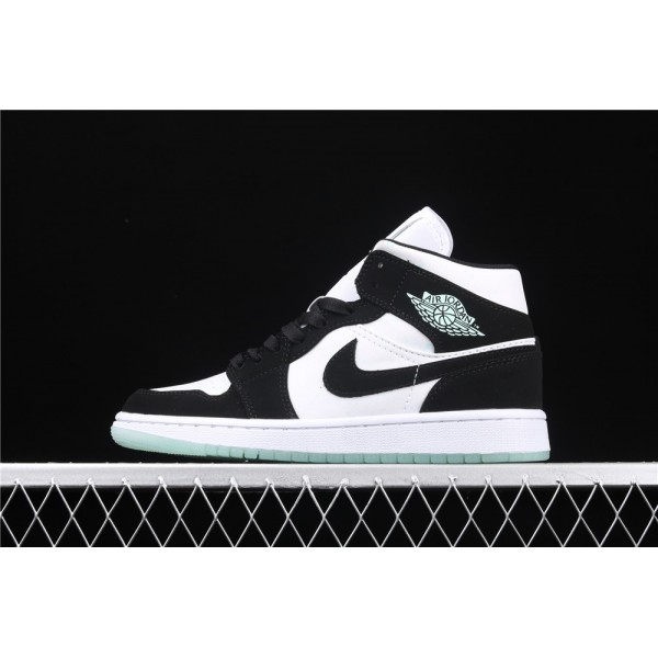 Men's Nike Air Jordan 1 Mid Luminous In White Black Shoe