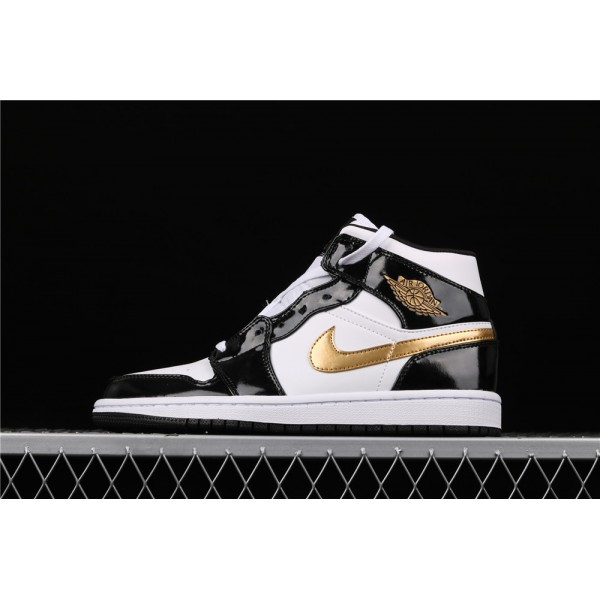 Men's Nike Air Jordan 1 Mid SE In Light Black Golden Logo Shoe