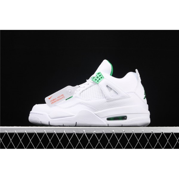 Men's Nike Air Jordan 4 Pine Green Flight In White Shoe