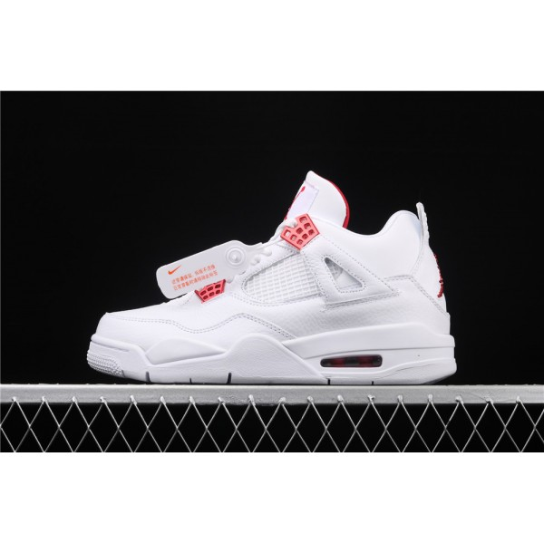 Men's Nike Air Jordan 4 Red Metallic Flight In White Shoe