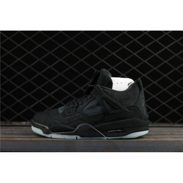 Men's Kaws x Nike Air Jordan 4 Black In Dark Green Luminous Shoe