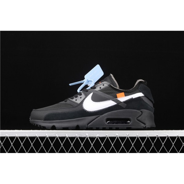 Men/Women Off White x Nike Air Max 90 OW AA7293 001 black